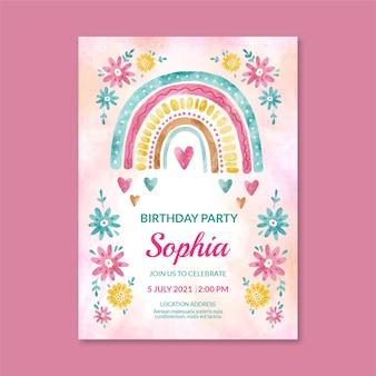 Modelo de convite de aniversário de arco-íris em aquarela pintado à mão
