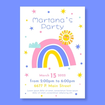 Modelo de convite de aniversário de arco-íris plano