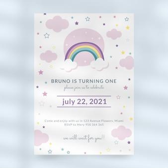 Modelo de convite de aniversário de arco-íris