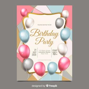 Modelo de convite de aniversário de balões realistas