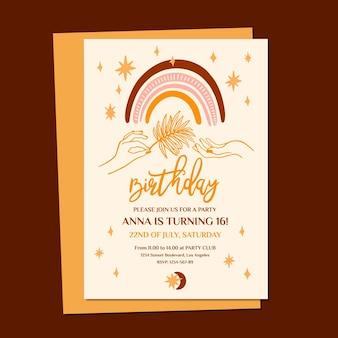 Modelo de convite de aniversário de boho desenhado à mão
