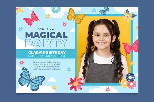 Modelo de convite de aniversário de borboleta com foto