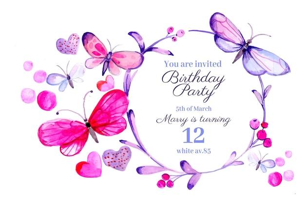 Modelo de convite de aniversário de borboleta em aquarela pintado à mão
