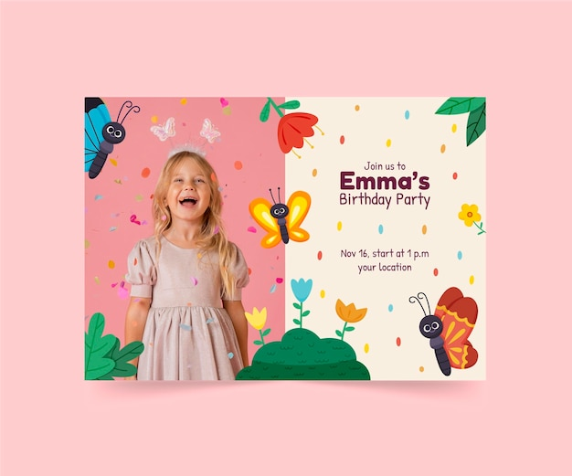 Modelo de convite de aniversário de borboleta em desenho animado com foto