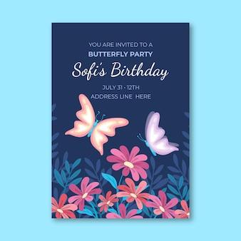 Modelo de convite de aniversário de borboleta plana