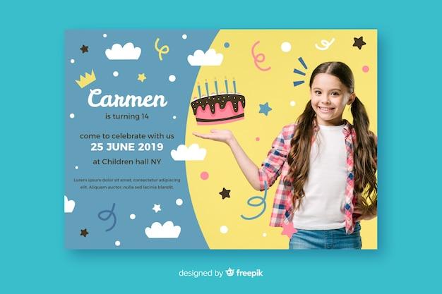 Modelo de convite de aniversário de crianças com foto