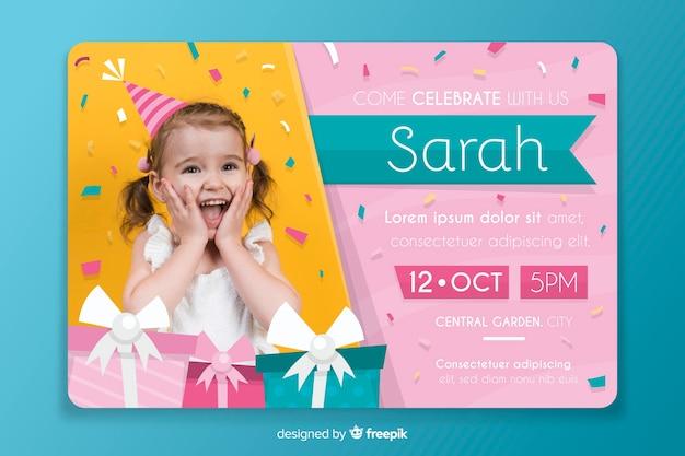 Modelo de convite de aniversário de crianças com imagem