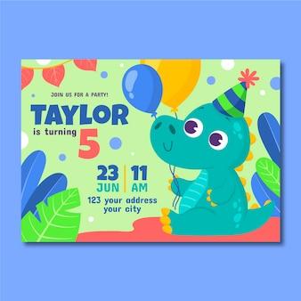 Modelo de convite de aniversário de dinossauro de desenho animado