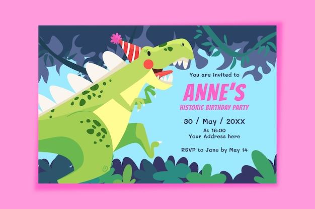 Modelo de convite de aniversário de dinossauro de design plano