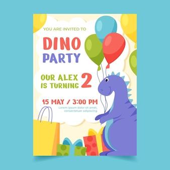Modelo de convite de aniversário de dinossauro desenhado à mão