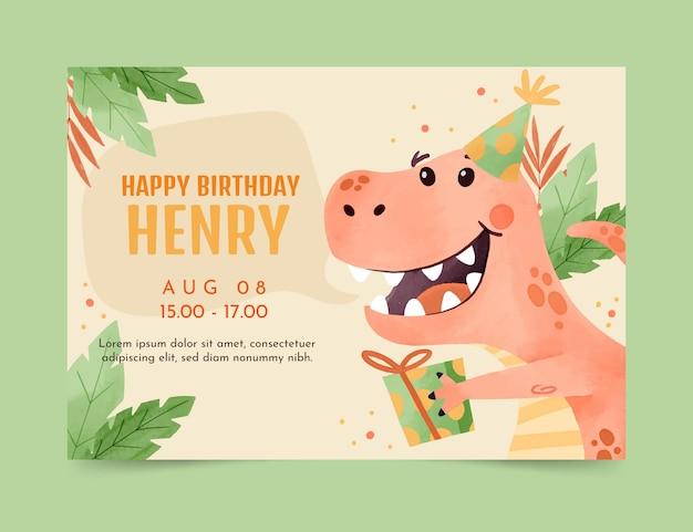 Modelo de convite de aniversário de dinossauro em aquarela pintado à mão