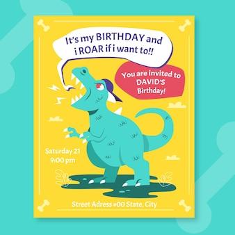 Modelo de convite de aniversário de dinossauro plano