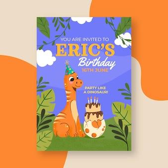 Modelo de convite de aniversário de dinossauro