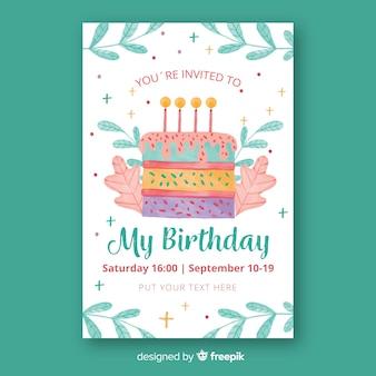Modelo de convite de aniversário de estilo aquarela