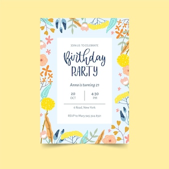 Modelo de convite de aniversário de flores coloridas