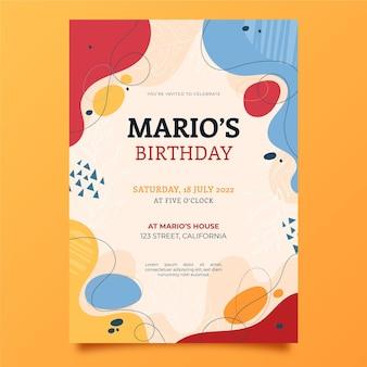 Modelo de convite de aniversário de formas abstratas desenhadas à mão