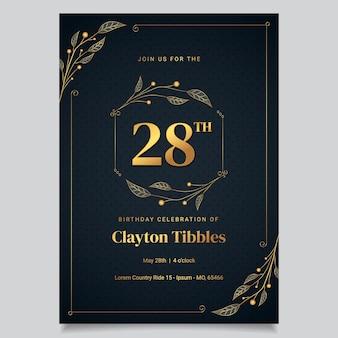 Modelo de convite de aniversário de luxo dourado gradiente