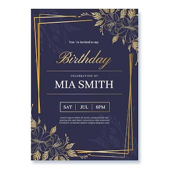 Modelo de convite de aniversário de luxo dourado realista