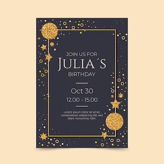 Modelo de convite de aniversário de luxo dourado