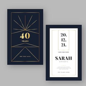 Modelo de convite de aniversário de luxo