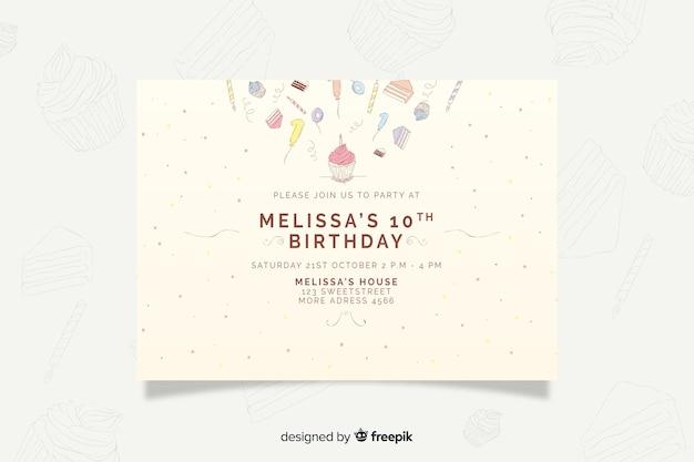 Modelo de convite de aniversário de mão desenhada