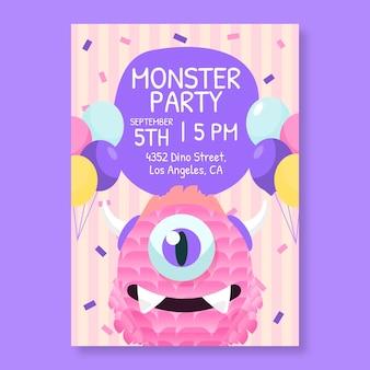 Modelo de convite de aniversário de monstro de desenho animado