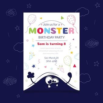 Modelo de convite de aniversário de monstro desenhado à mão