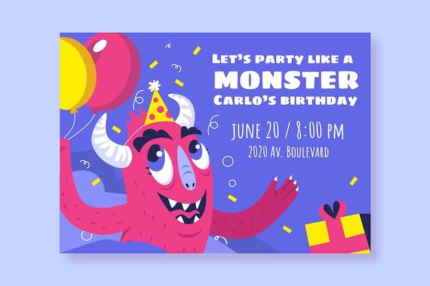 Modelo de convite de aniversário de monstros de desenho animado