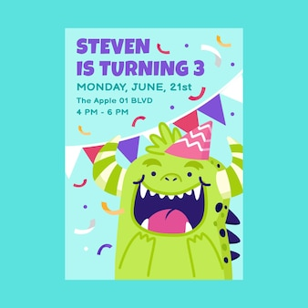 Modelo de convite de aniversário de monstros planos