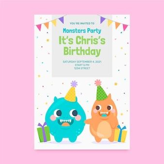 Modelo de convite de aniversário de monstros