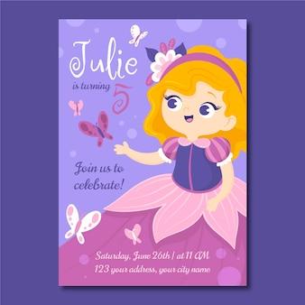 Modelo de convite de aniversário de princesa de desenho animado