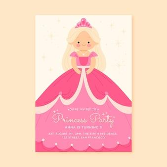 Modelo de convite de aniversário de princesa desenhado à mão