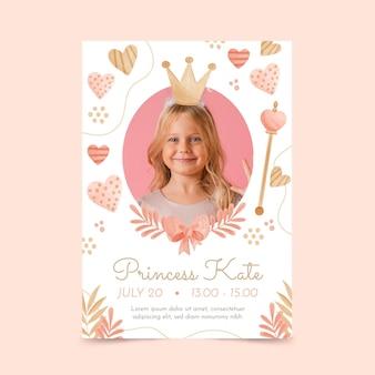 Modelo de convite de aniversário de princesa em aquarela pintada à mão com foto