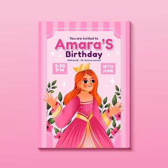 Modelo de convite de aniversário de princesa em aquarela pintada à mão