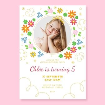 Modelo de convite de aniversário de princesa plana com foto