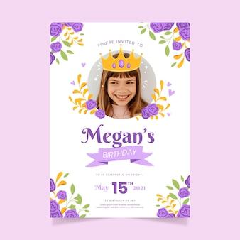 Modelo de convite de aniversário de princesa plana orgânica