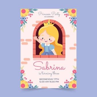 Modelo de convite de aniversário de princesa plana
