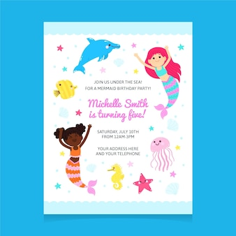 Modelo de convite de aniversário de sereia de desenho animado