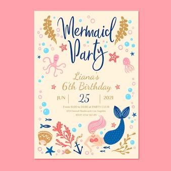 Modelo de convite de aniversário de sereia desenhado à mão