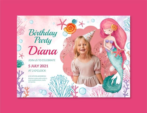 Modelo de convite de aniversário de sereia em aquarela pintada à mão com foto