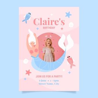 Modelo de convite de aniversário de sereia plana com foto