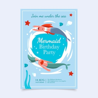 Modelo de convite de aniversário de sereia plana