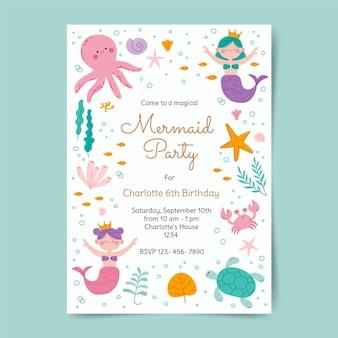Modelo de convite de aniversário de sereia