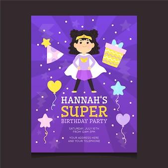 Modelo de convite de aniversário de super-herói de desenho animado
