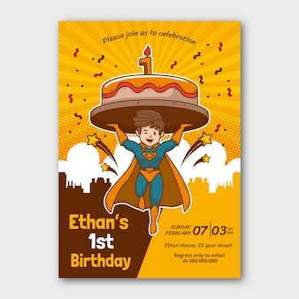 Modelo de convite de aniversário de super-herói desenhado à mão