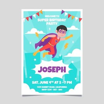 Modelo de convite de aniversário de super-herói plano orgânico
