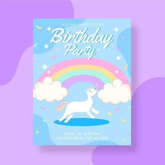 Modelo de convite de aniversário de unicórnio desenhado à mão