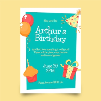 Modelo de convite de aniversário desenhado à mão