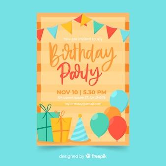 Modelo de convite de aniversário desenhado de mão