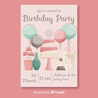 Modelo de convite de aniversário design plano
